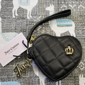 Juicy Couture Crowned Heart Black Wristlet